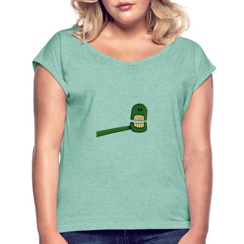 Roboter Kopf - Frauen T-Shirt mit gerollten Ärmeln