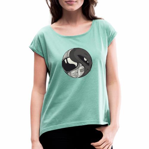 Yin Yang space Alien und Astronaut - Frauen T-Shirt mit gerollten Ärmeln