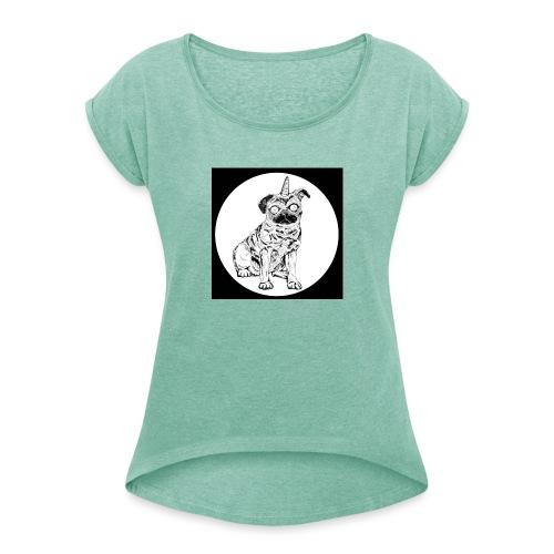 rysunek Pies-Jednorożec - Koszulka damska z lekko podwiniętymi rękawami