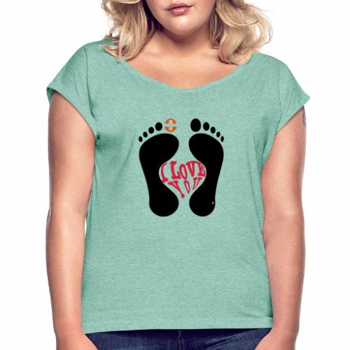 Barfuss-Logo i love you - Frauen T-Shirt mit gerollten Ärmeln