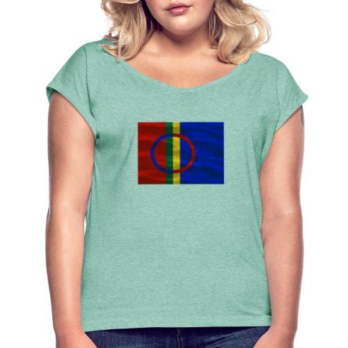 Sapmi flag - T-skjorte med rulleermer for kvinner
