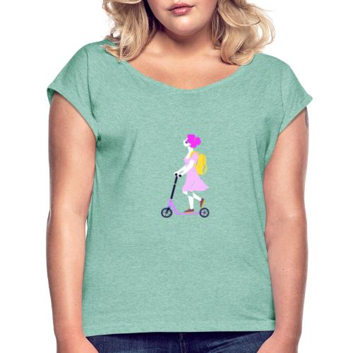 girl scooter 1 - Women's T-Shirt with rolled up sleeves