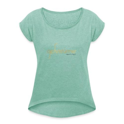 Firmenlogo - Frauen T-Shirt mit gerollten Ärmeln