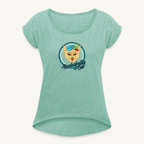 Rockabilly Cat - Frauen T-Shirt mit gerollten Ärmeln