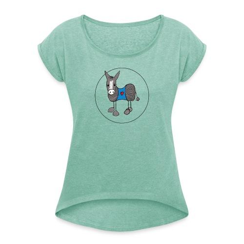 corfu donkey shop logo - Vrouwen T-shirt met opgerolde mouwen