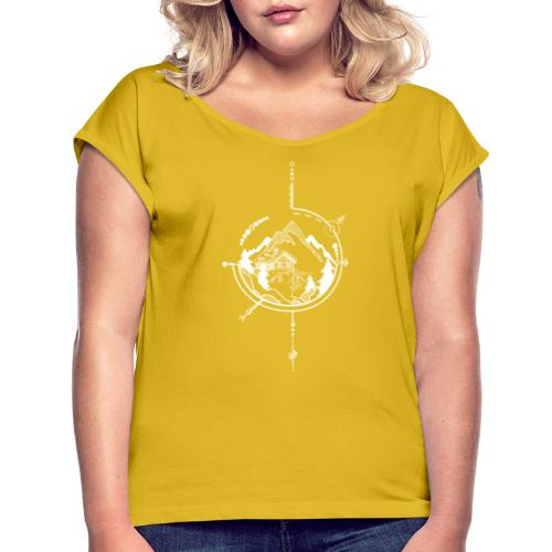 Cabin in the mountains - Vrouwen T-shirt met opgerolde mouwen