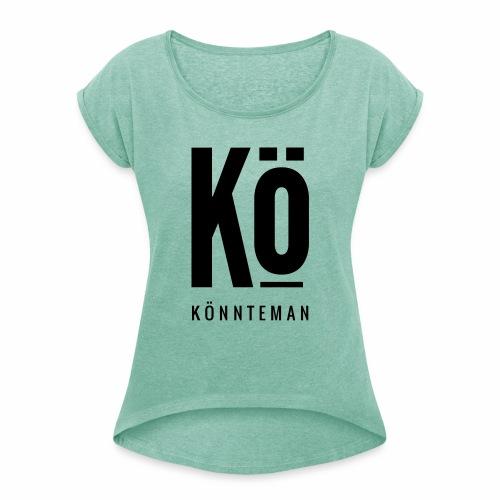 Das Kö Shirt in Schwarzem Print - Frauen T-Shirt mit gerollten Ärmeln