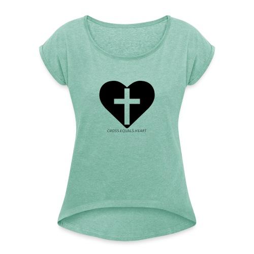 CEH black png - T-shirt med upprullade ärmar dam