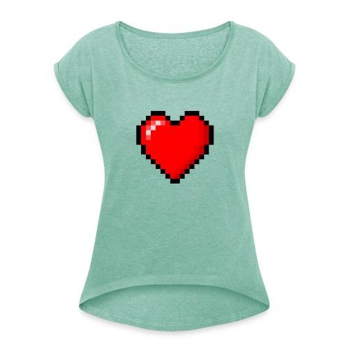 8bit heart - Maglietta da donna con risvolti