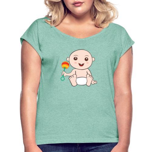 Glückliches Baby - Frauen T-Shirt mit gerollten Ärmeln