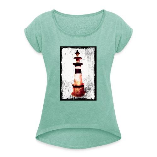 Leuchtturm - Frauen T-Shirt mit gerollten Ärmeln