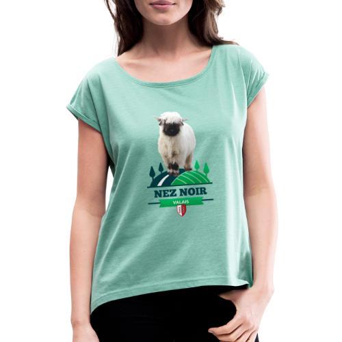 Mouton du Valais - Nez noir - Frauen T-Shirt mit gerollten Ärmeln