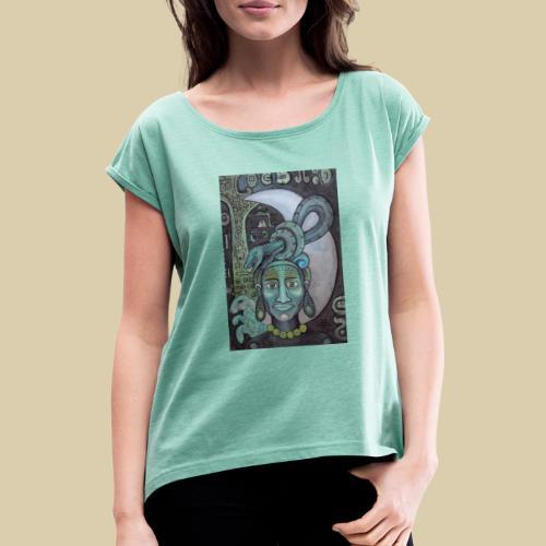 ixchel azul - Camiseta con manga enrollada mujer