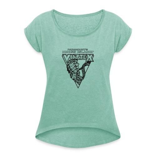 Vortex 1987 2019 Kings Island - Naisten T-paita, jossa rullatut hihat