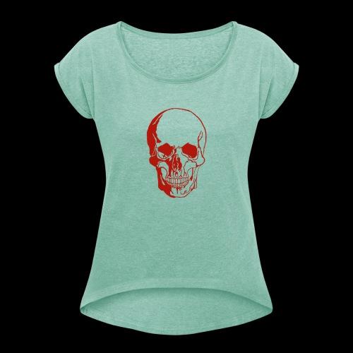 1fd8aa5d7f84f0b9638e591aec507d95 skull sketch sku - Frauen T-Shirt mit gerollten Ärmeln