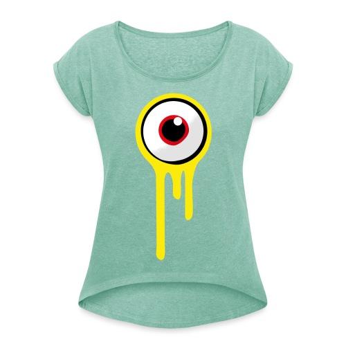 A&B • Eyeball (1 print: front / back) - Naisten T-paita, jossa rullatut hihat