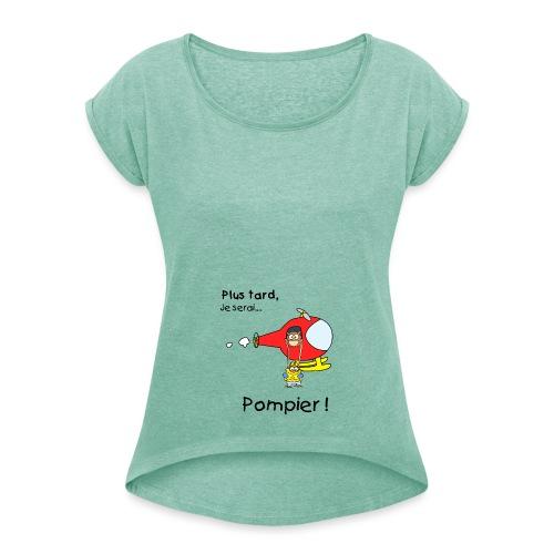 design futur pompier noir - Camiseta con manga enrollada mujer