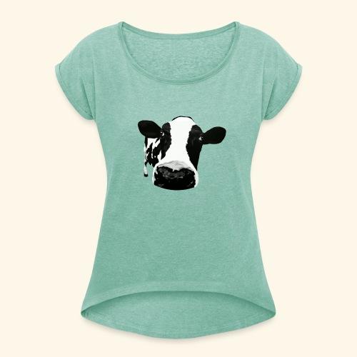 cow - Frauen T-Shirt mit gerollten Ärmeln