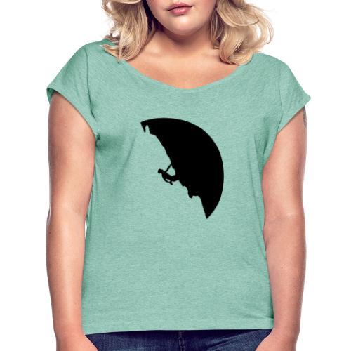 Kletterer in schwarz - Frauen T-Shirt mit gerollten Ärmeln