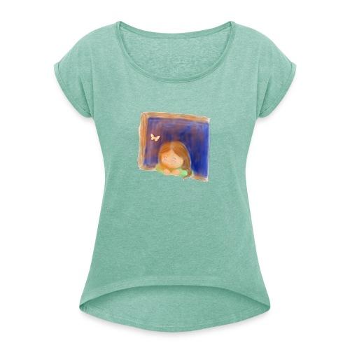 Fensterling solo 3 - Frauen T-Shirt mit gerollten Ärmeln