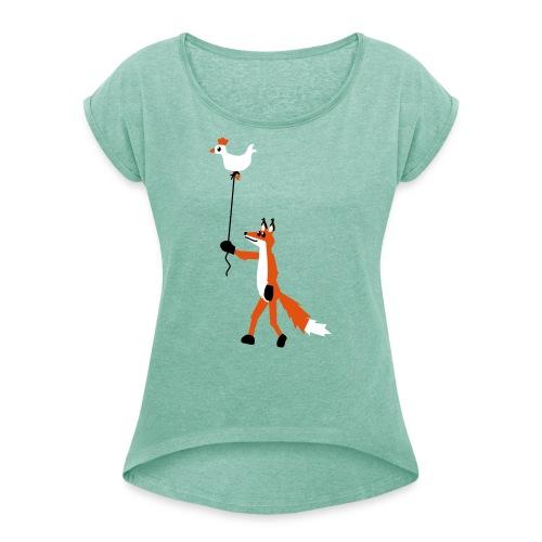 Fuchs und Henne - Frauen T-Shirt mit gerollten Ärmeln