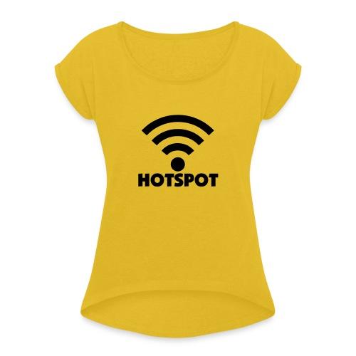 wifi hotspot - Vrouwen T-shirt met opgerolde mouwen