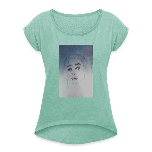 cubismn - Camiseta con manga enrollada mujer