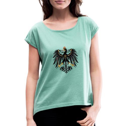 Preussischer Adler - Frauen T-Shirt mit gerollten Ärmeln