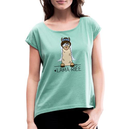 LAMARIEE (1de2), Mariage, mariée, Lama - T-shirt à manches retroussées Femme