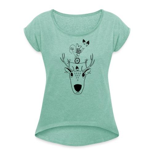 Rentier Eichhörnchen Acrobat Naturliebe Geschenk - Frauen T-Shirt mit gerollten Ärmeln