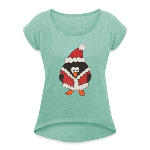 Christmas penguin t-shirt - Women's T-Shirt with rolled up sleeves
