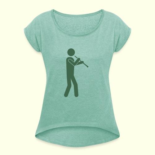Oboist gruen - Frauen T-Shirt mit gerollten Ärmeln