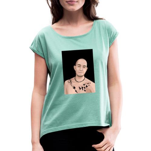 Justin Ahlberg Art - T-shirt med upprullade ärmar dam