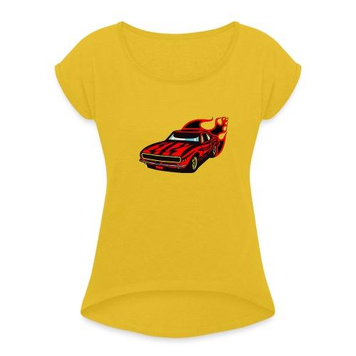 auto fahrzeug rennwagen - Frauen T-Shirt mit gerollten Ärmeln