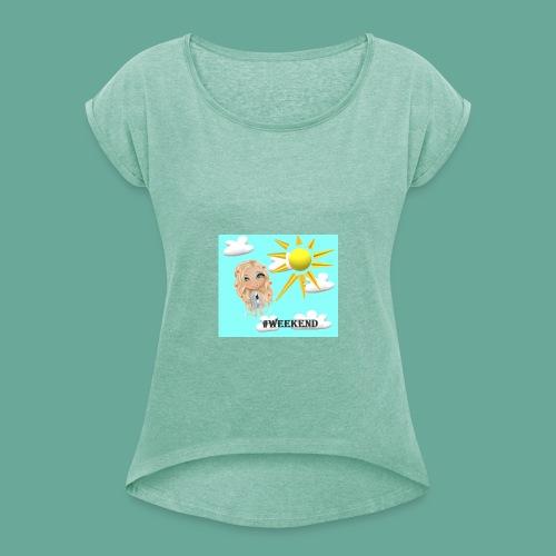 BlueSkyMomioWeekend - Vrouwen T-shirt met opgerolde mouwen