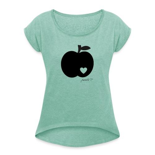 apple png - Frauen T-Shirt mit gerollten Ärmeln