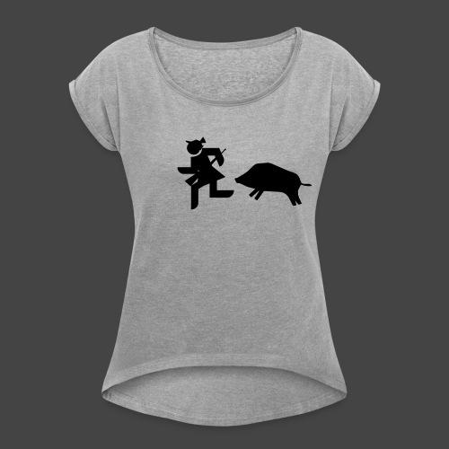 """Jägerin vs Bache""-Jägerinnenshirt - Frauen T-Shirt mit gerollten Ärmeln"