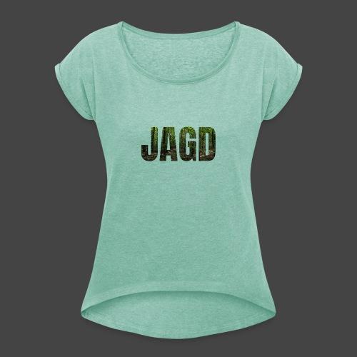JAGD-Shirt für Jäger/innen, Motiv Wald - Frauen T-Shirt mit gerollten Ärmeln