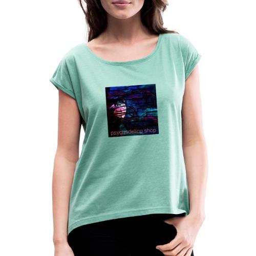 Graffiti design - T-shirt med upprullade ärmar dam
