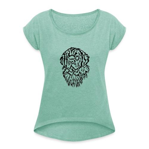 Neufundländer Kopf - Frauen T-Shirt mit gerollten Ärmeln