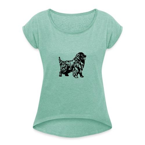 Neufundländer - Frauen T-Shirt mit gerollten Ärmeln