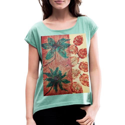 Herbstblumen - Frauen T-Shirt mit gerollten Ärmeln