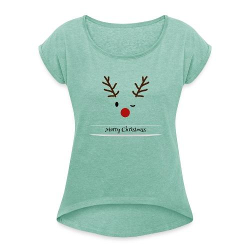 Koszulka z reniferem - Koszulka damska z lekko podwiniętymi rękawami