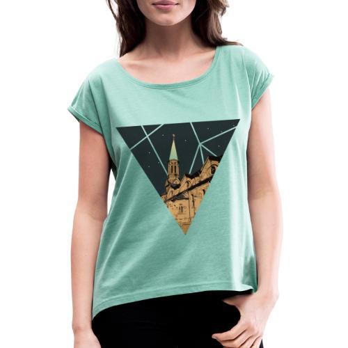 Kirche St Barbara Forst - Frauen T-Shirt mit gerollten Ärmeln