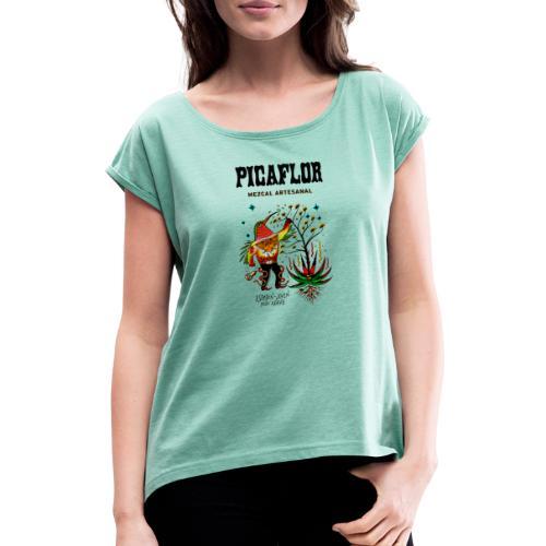 picaflormezcal - T-skjorte med rulleermer for kvinner