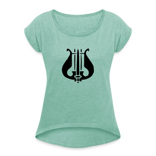 Soittaja - Naisten T-paita, jossa rullatut hihat
