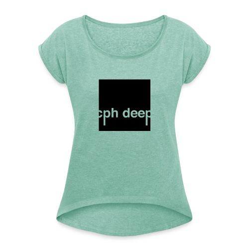 cph deep logo - Dame T-shirt med rulleærmer