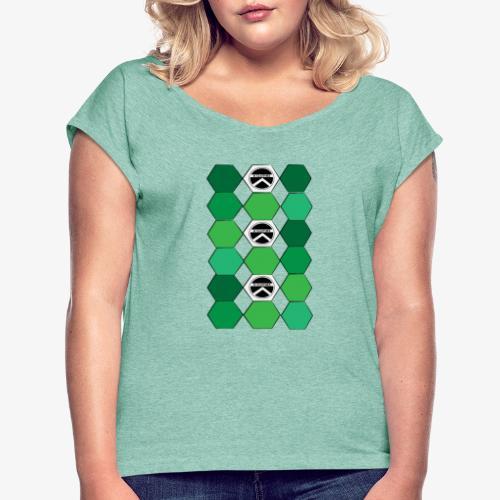 |K·CLOTHES| HEXAGON ESSENCE GREENS & WHITE - Camiseta con manga enrollada mujer