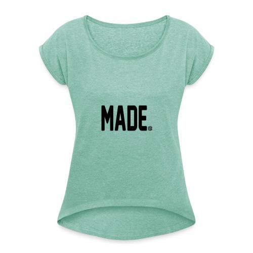 madesc - T-shirt med upprullade ärmar dam