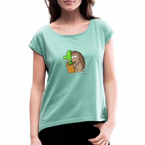 Igel-Liebe - Frauen T-Shirt mit gerollten Ärmeln